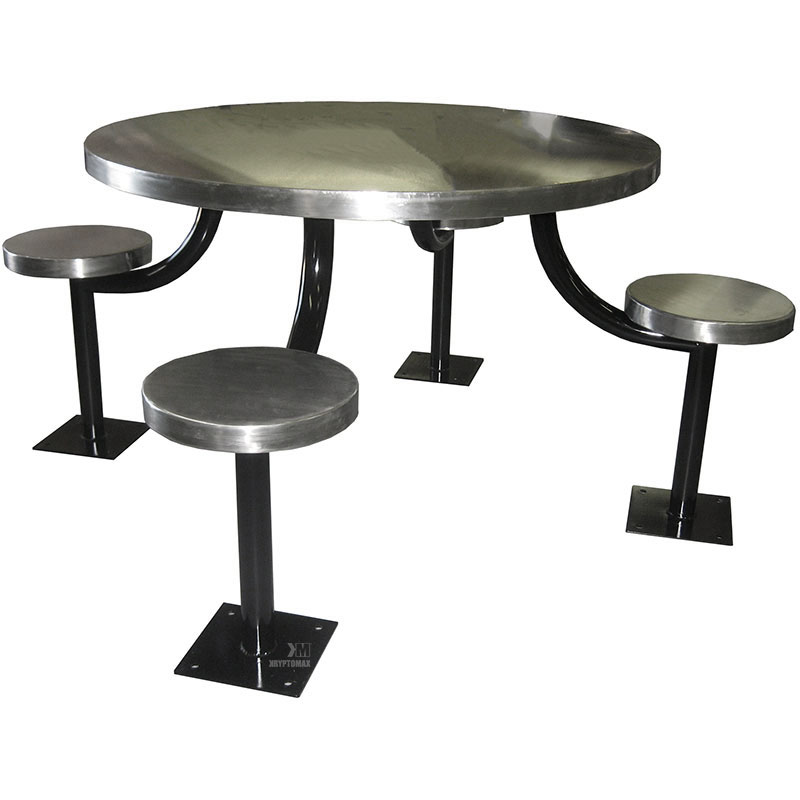 KryptoMax® 4 seat table prison table shown from side with black powder coated table legs and floor mount, stainless steel stool and table tops