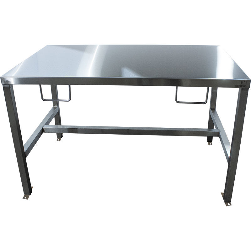 KryptoMax® Stainless Steel Interview Table with handcuff rings and bolt-to-floor mounts shown from front of table