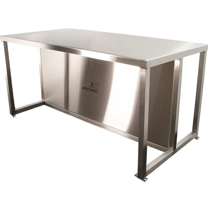 KryptoMax® Stainless Steel Interview Table with kick guard panel and bolt-to-floor mounts main product image