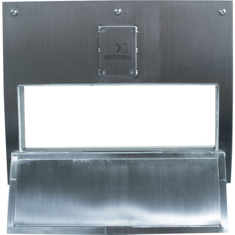 Looking through KryptoMax® Stainless Steel Food Pass Through Door with door open