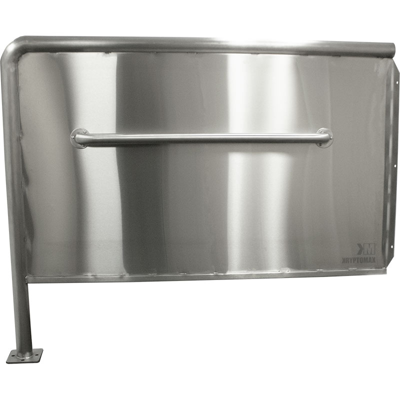 KryptoMax® ADA Compliant Stainless Steel Privacy Panel viewed from side