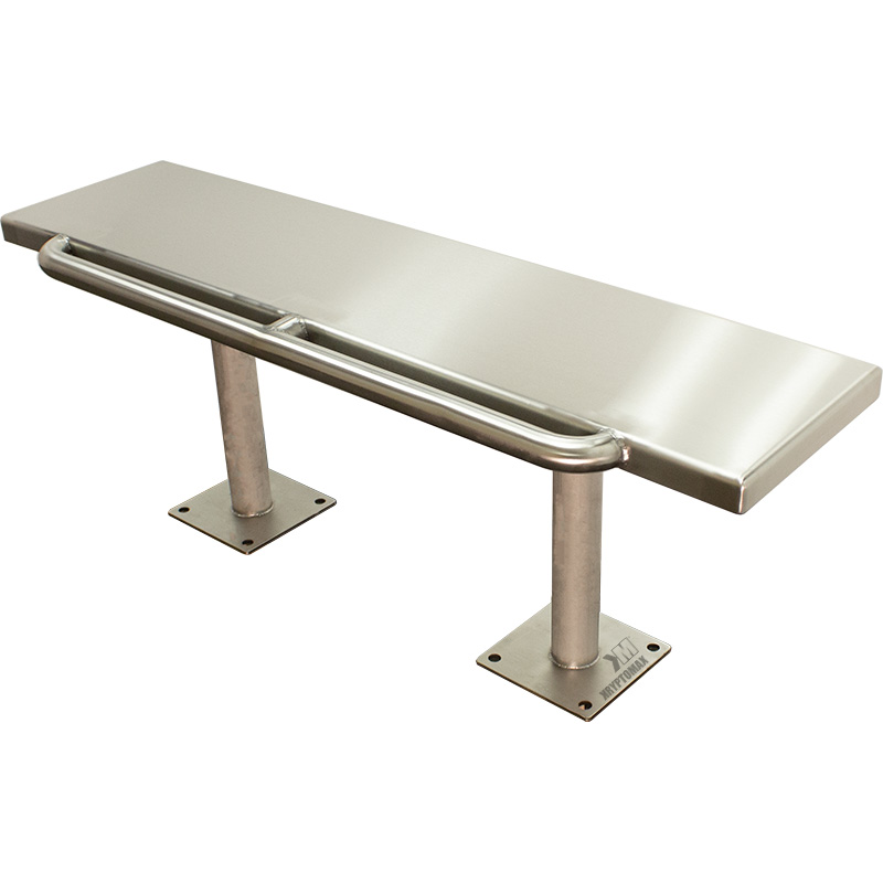 Front angled view of the KryptoMax® Stainless Steel Floor Mounted Detention Bench with Handcuff Bar showing restraint bar on front edge of the bench