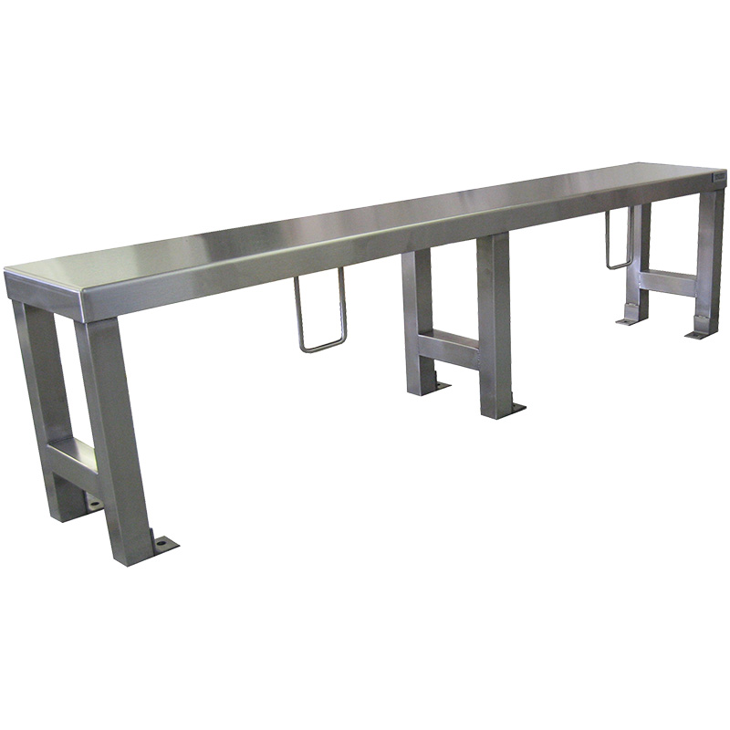 KryptoMax® Stainless Steel Heavy Duty Floor Mounted Prison Bench for intensive use shown with restraint rings for handcuffs at an angle