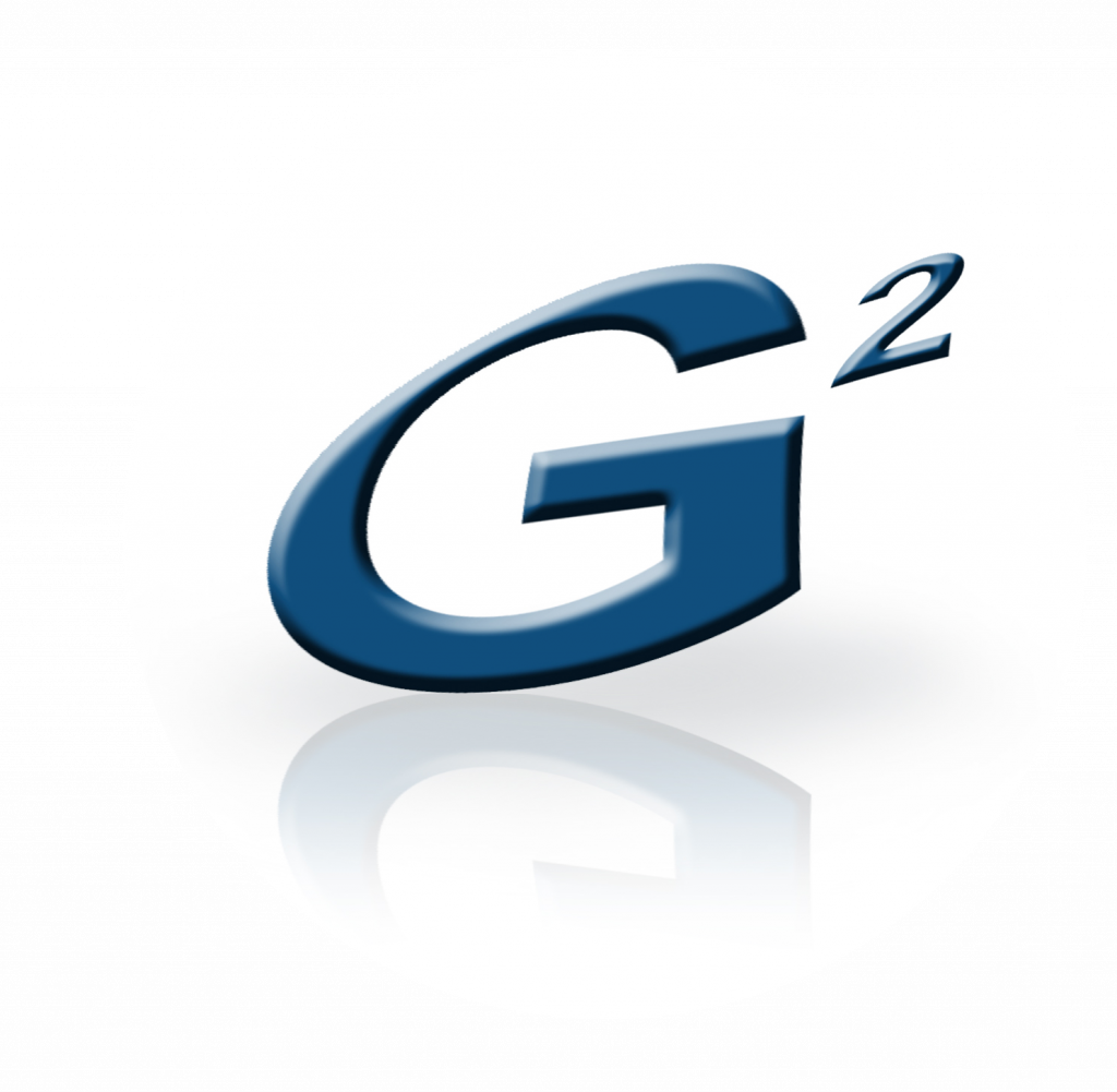 """G2 Automated Technologies """"G-Squared"""" logo in blue with stylized reflection"""