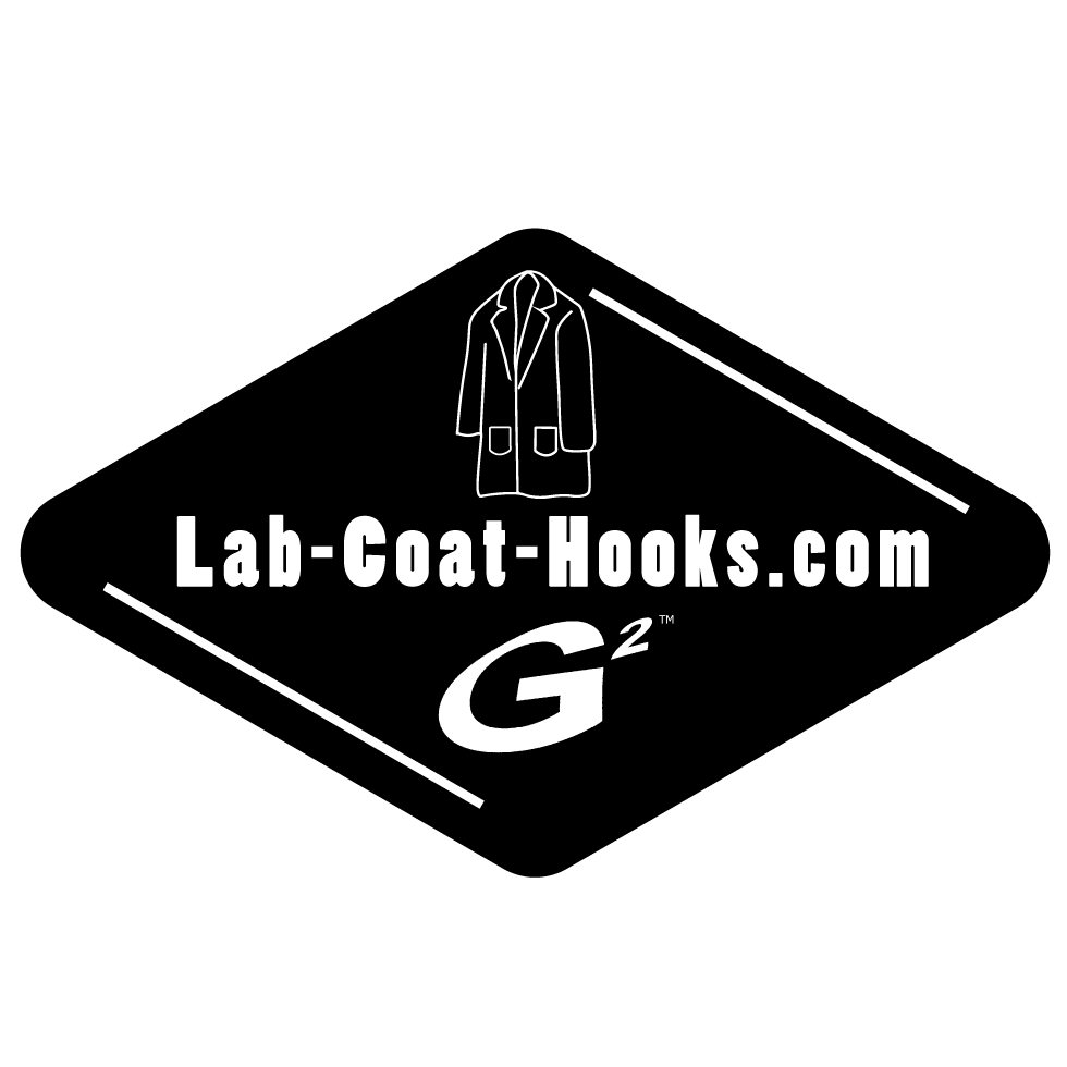 Lab-Coat-Hooks.com logo in black and white