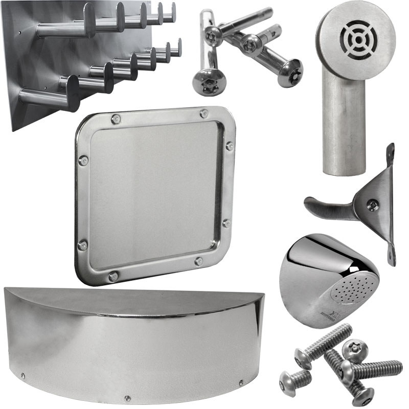Product category image of various KryptoMax® stainless steel accessories, hose racks, detention mirrors, and parts for intensive use