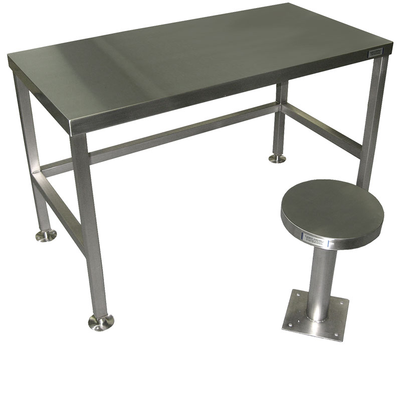 KryptoMax® stainless steel seating and tables for intensive use showing prison desk and prison stool together