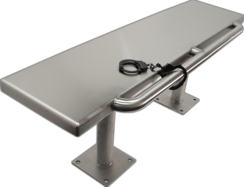 KryptoMax® Stainless Steel Floor Mounted Detention Bench with Restraint Bar shown with pair of black handcuffs attached to front-mounted restraint bar