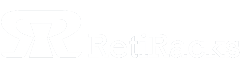 RetiRacks™ logo in white with transparent background